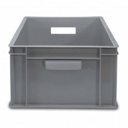 Krat 60 x 40 x 32 cm grijs gesloten met open handvaten