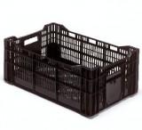 Krat 60 x 40 x 23,5 cm zwart bodem + zijkanten geperforeerd